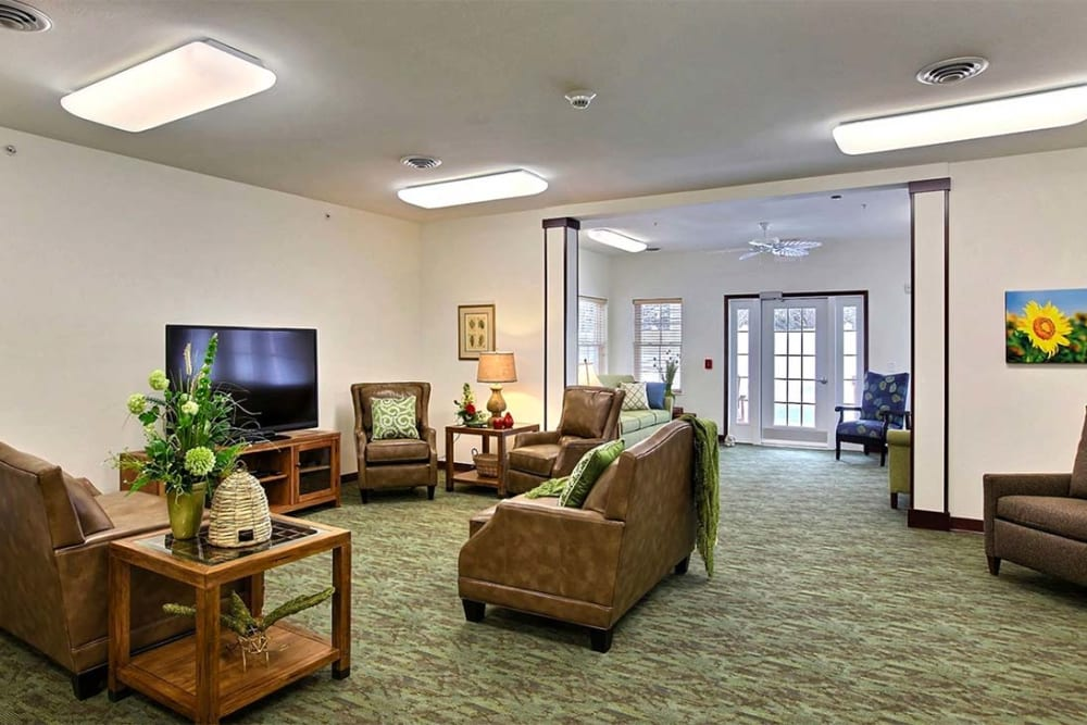 Comfortable community TV room at Milestone Senior Living in Woodruff, Wisconsin.