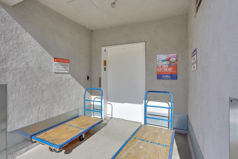 Carts make moving easy at A-1 Self Storage in Lake Forest, California