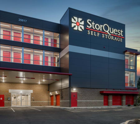 Exterior of main building at StorQuest Self Storage in Federal Way, Washington