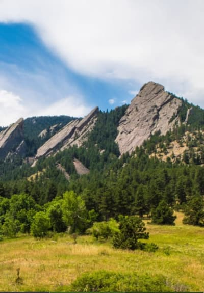 View of the flat irons near Applewood Pointe of Westminster in Westminster, Colorado