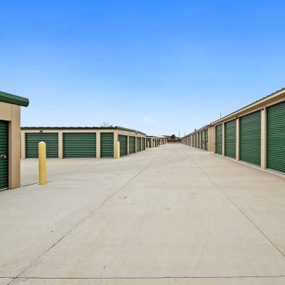 Outdoor ground floor units at Storage Star Cheyenne in Cheyenne, Wyoming