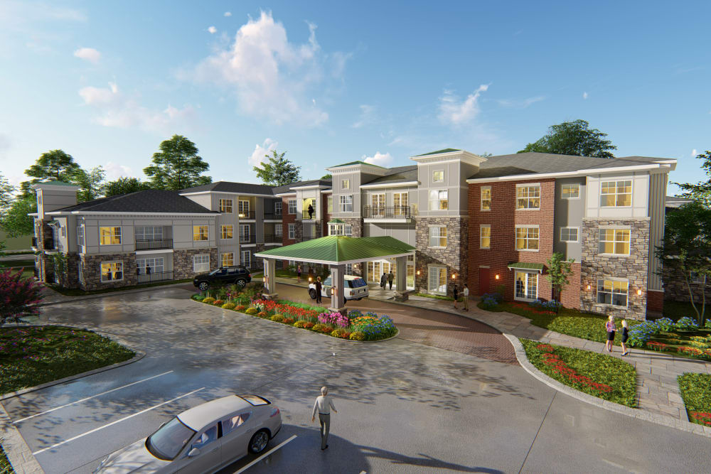 Rendering of front entrance at Avenida Naperville in Naperville, Illinois