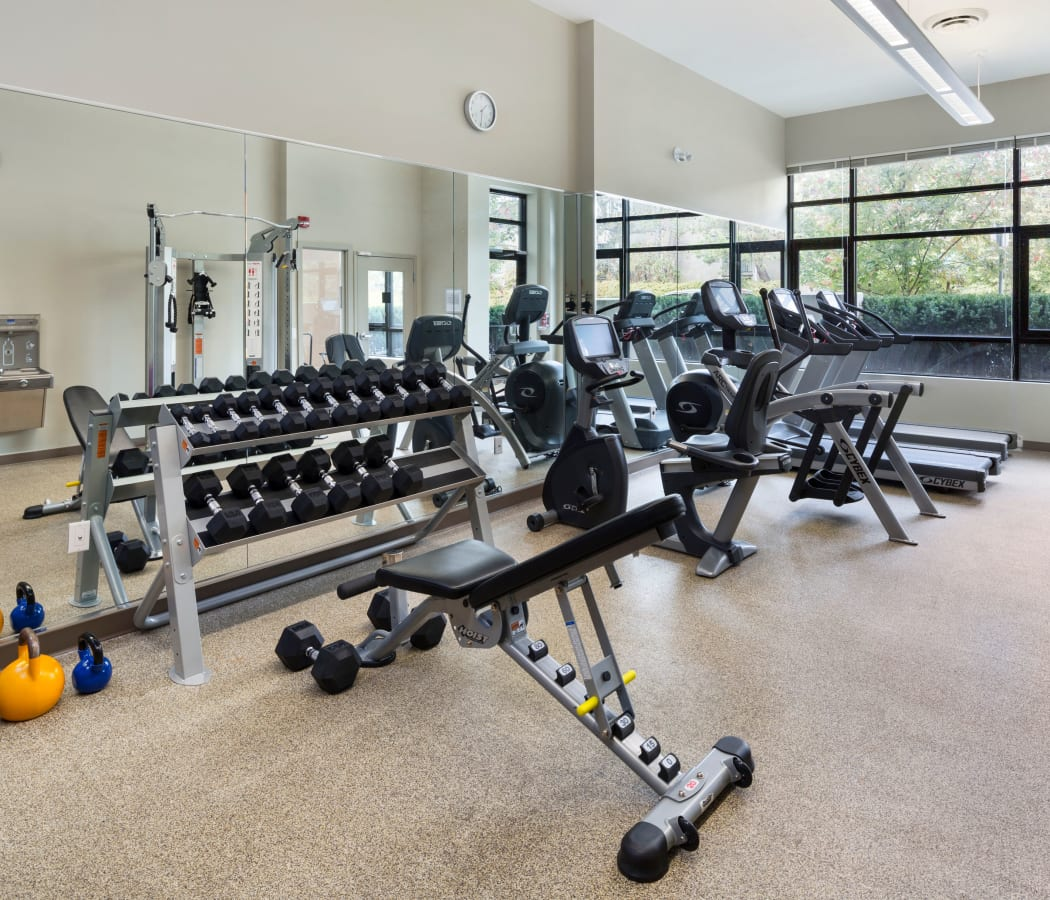 Modern fitness center at Northwoods Village in North Vancouver, British Columbia