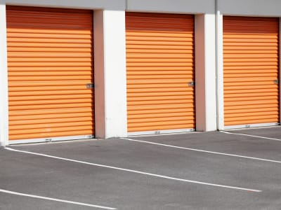 Line of outdoor storage units at Wheeler Road Self Storage in Augusta, Georgia