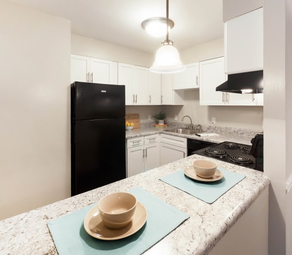 Beautiful, bright kitchen at Normandy Apartments in Chattanooga, Tennessee