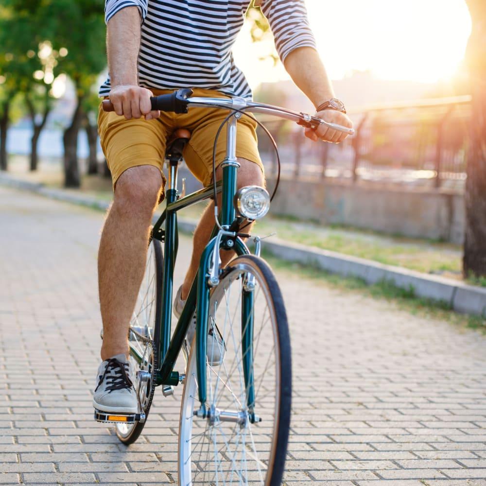 Resident riding his bike near Inman Quarter in Atlanta, Georgia