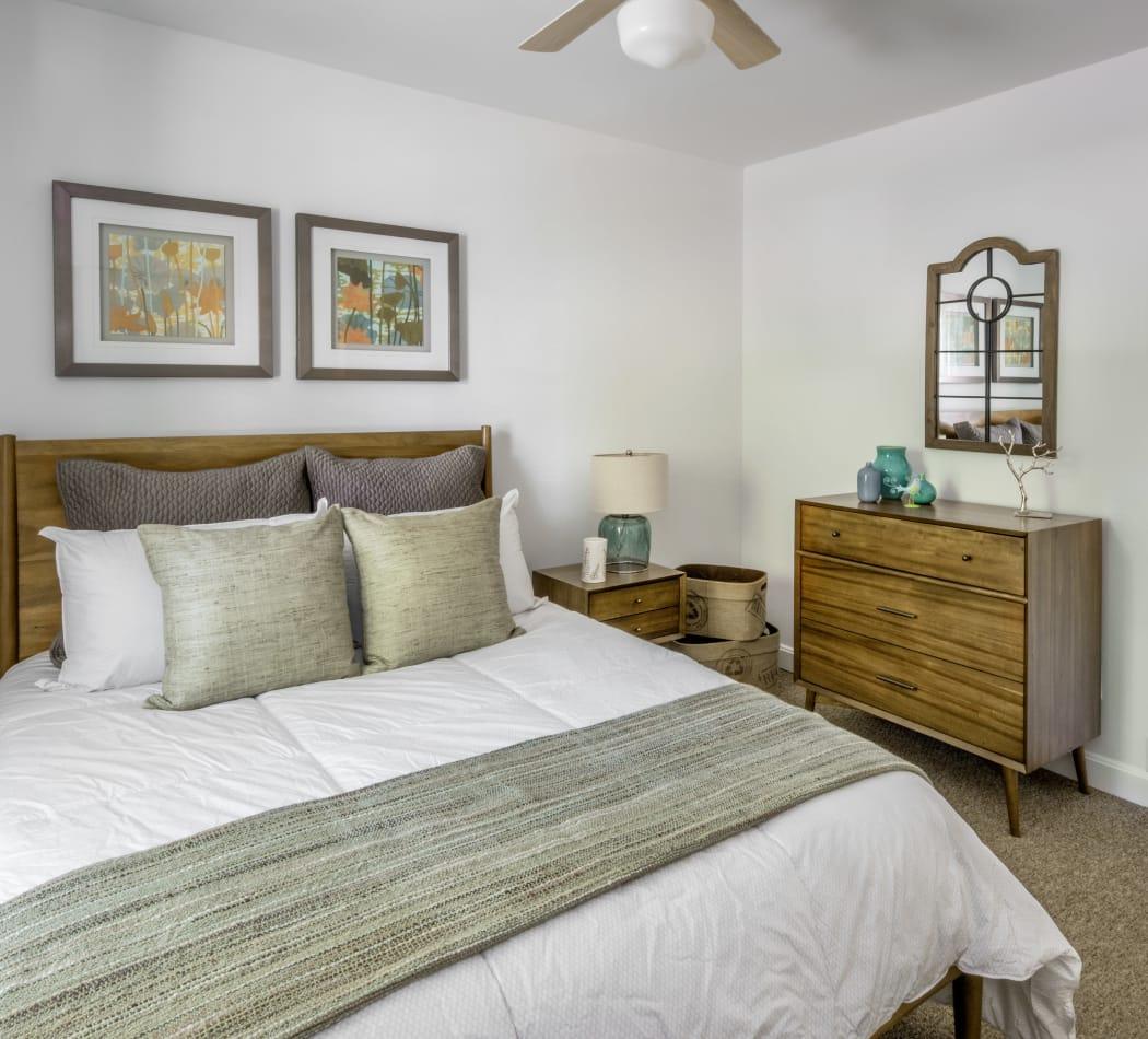Lovely model bedroom at President Village in Fall River, Massachusetts