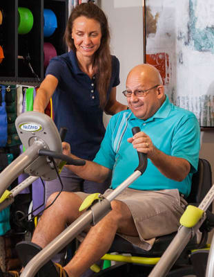 Assisted living residents working out at Wilmington, Delaware
