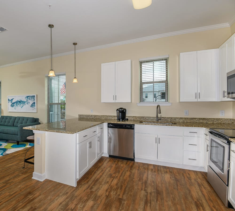 Kitchen with stainless steel appliances at Palm Bay Club in Jacksonville, Florida