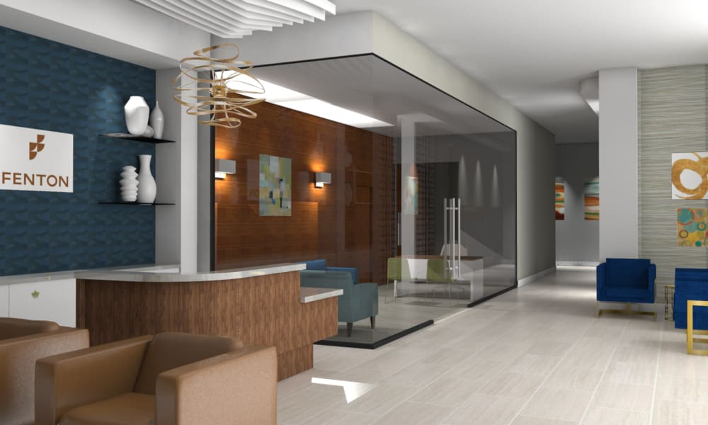 Rendering of spacious reception and private meeting room at Fenton Silver Spring in Silver Spring, Maryland.