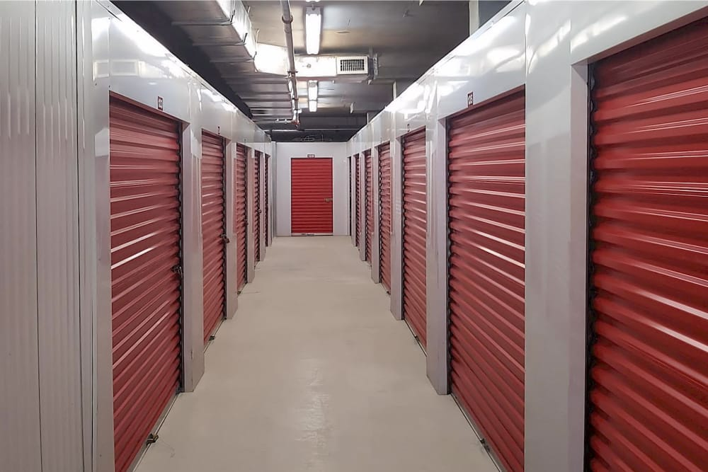 Indoor storage units at Prime Storage in North Miami, Florida