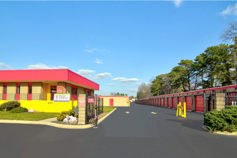 Gated entrance at Prime Storage in Lindenwold, New Jersey