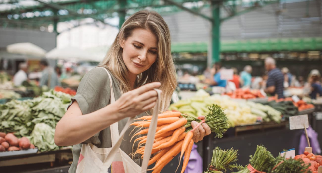 Resident shopping for produce at the local market in Oley, Pennsylvania near Oley Meadows