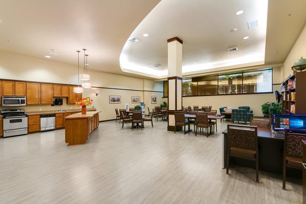 Activities room at Merrill Gardens at Kirkland in Kirkland, Washington.