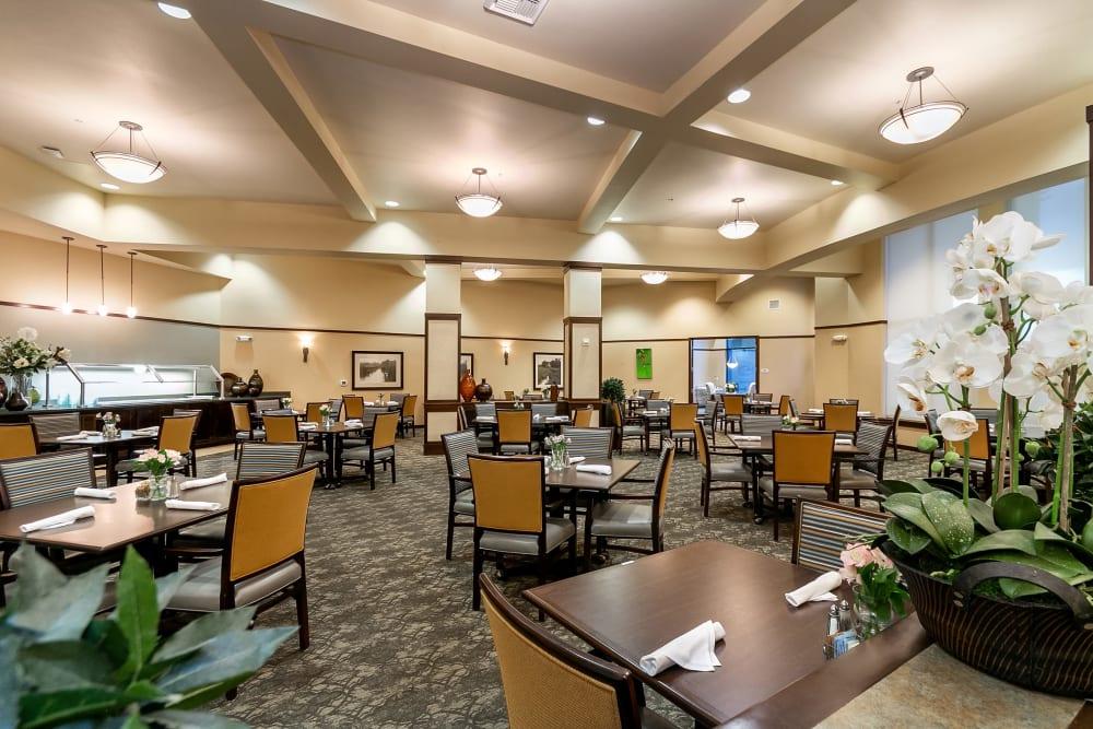 Dining hall at Merrill Gardens at Kirkland in Kirkland, Washington.