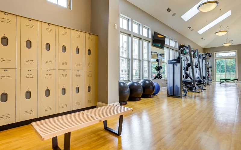 Clean and spacious fitness gym at The Oaks Of Vernon Hills in Vernon Hills, Illinois