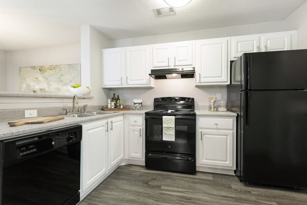 Spacious modern kitchen with black appliances and white cabinets at Belle Vista Apartment Homes in Lithonia, Georgia