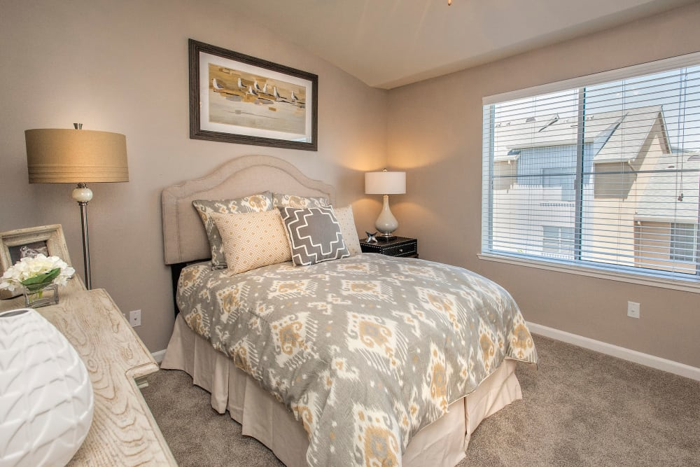 Model bedroom at Azure Apartment Homes in Petaluma, California