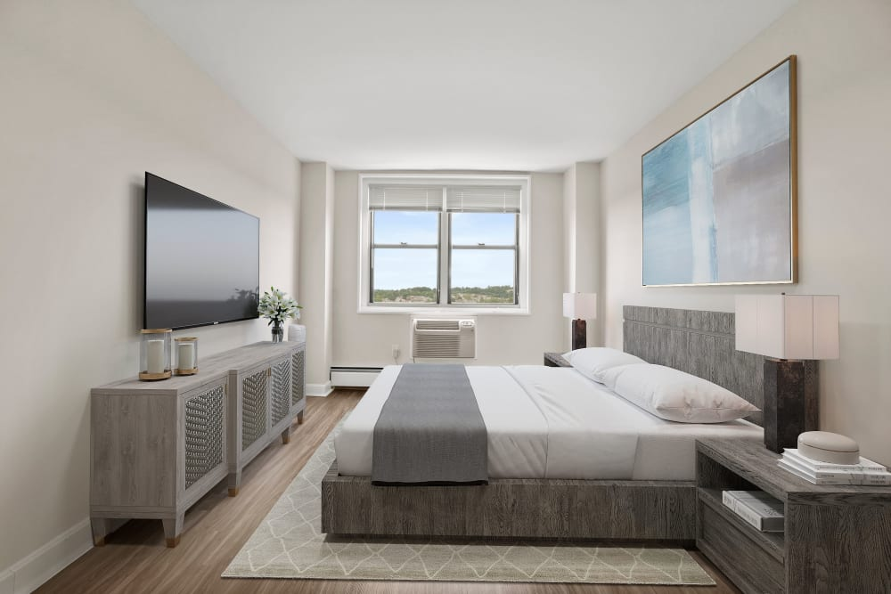 Tastefully decorated bedroom at Parkside Place in Cambridge, Massachusetts