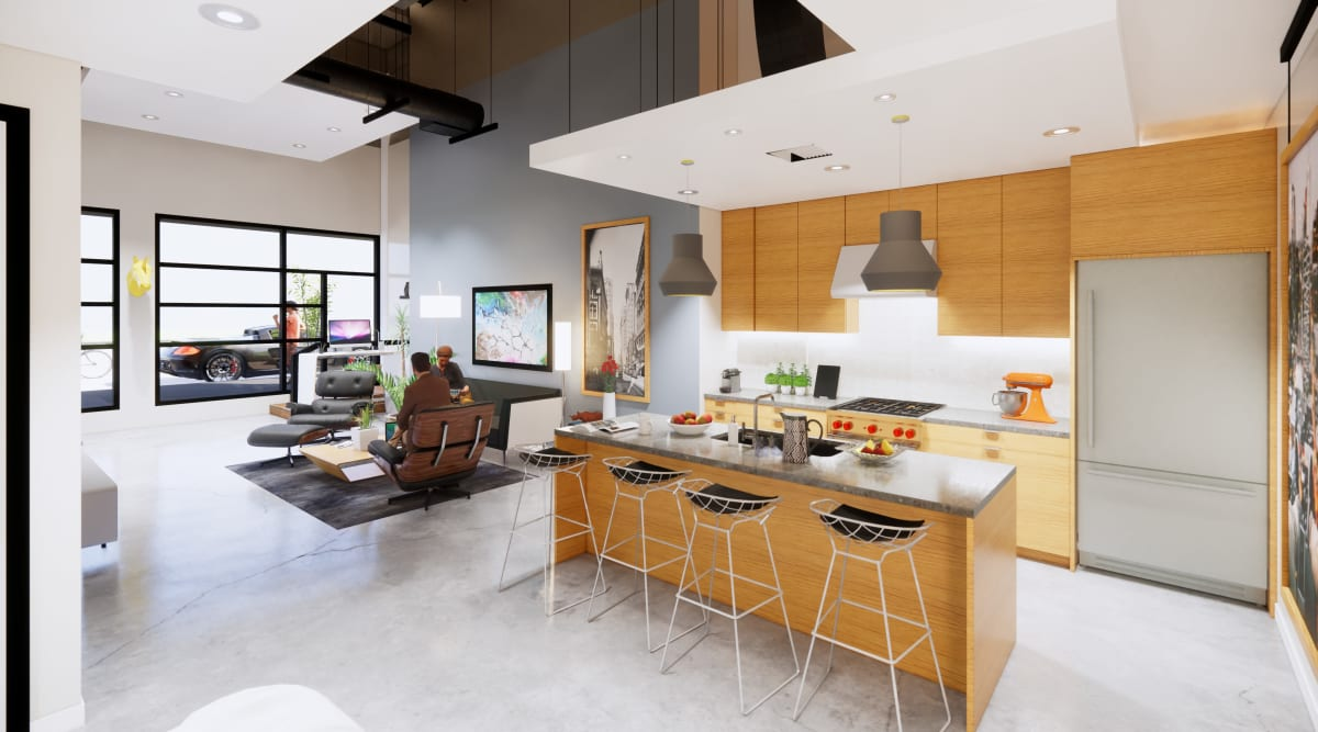 Kitchen with a large breakfast bar at Brio Apartment Homes in Glendale, California