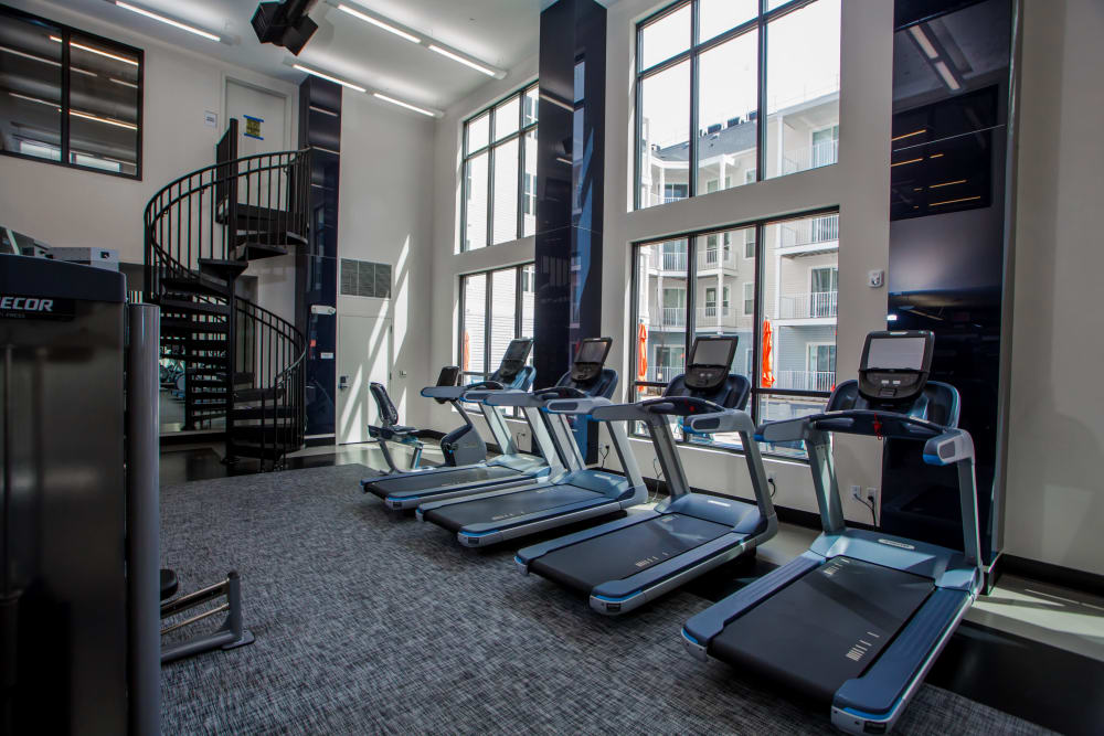 Spacious and naturally lit Fitness Center at The Mark Parsippany in Parsippany, New Jersey