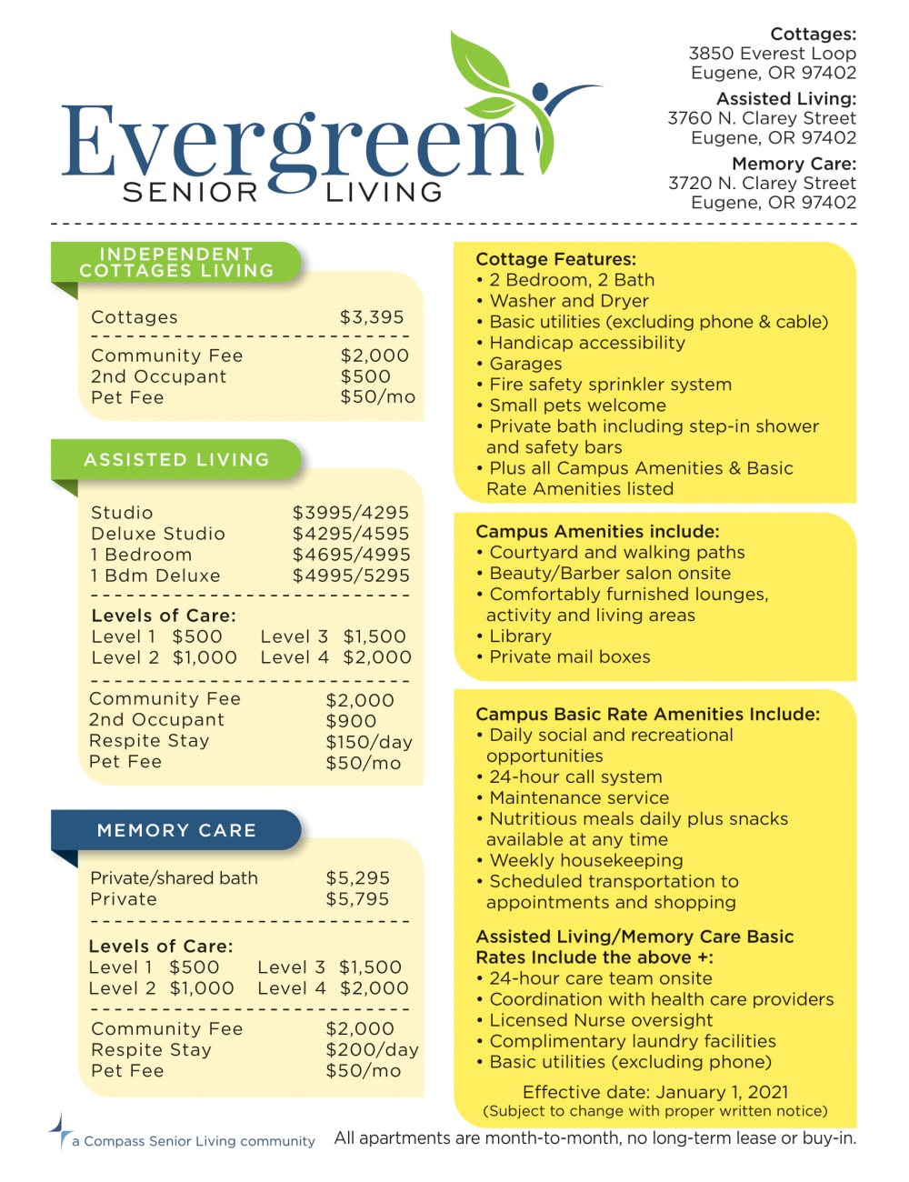 Rates at Evergreen Senior Living