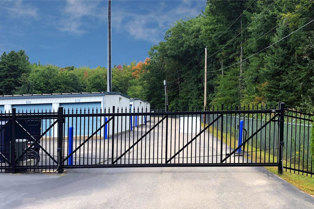Security gate at Prime Storage in Saco, Maine