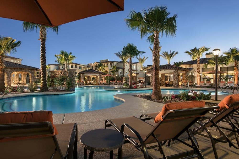 Beautiful swimming pool at dusk at San Valencia in Chandler, Arizona