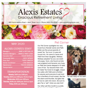 May newsletter at Alexis Estates Gracious Retirement Living in Allen, Texas