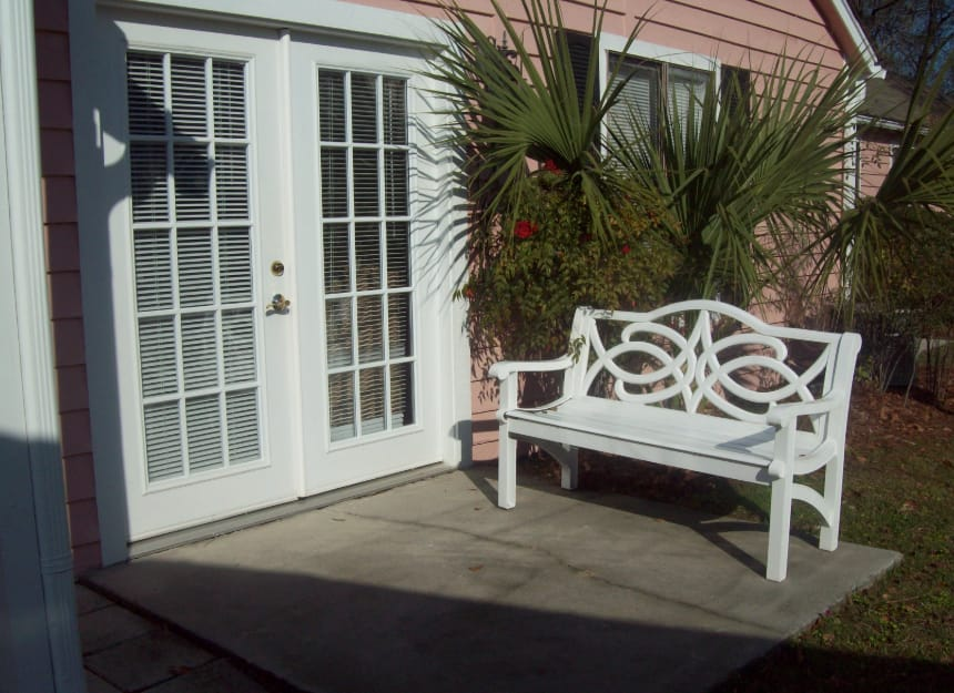 Enjoy sitting on the outdoor patio at Sandpiper Village in Mt. Pleasant, South Carolina