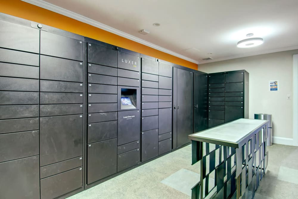 Mail room and parcel pick up center at Bradlee Danvers in Danvers, Massachusetts