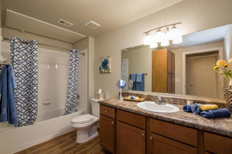 Bathroom with light wood flooring and lots of counterspace at Verandas at Alamo Ranch in San Antonio, Texas