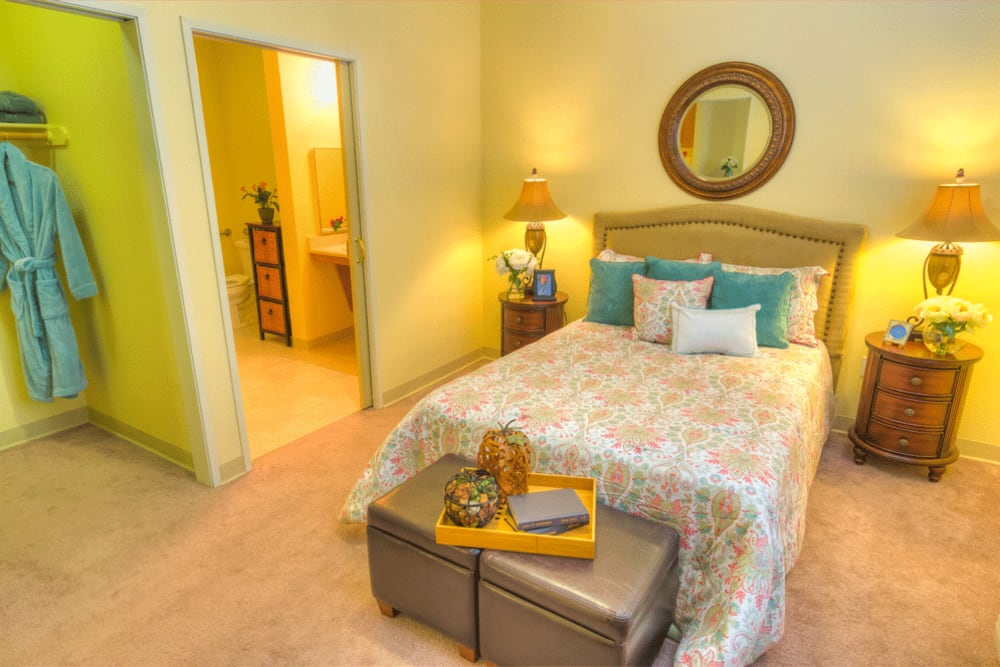 Senior living bedroom at The Meadows - Assisted Living in Elk Grove, California