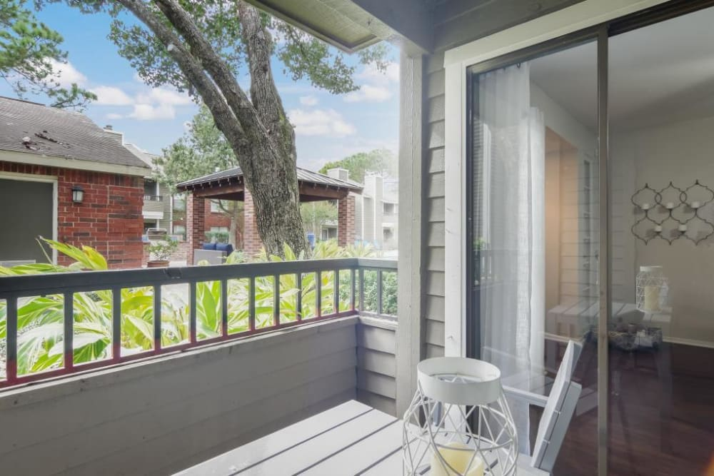 Enjoy your morning coffee on your back patio at Circle at Point Park in Houston, Texas