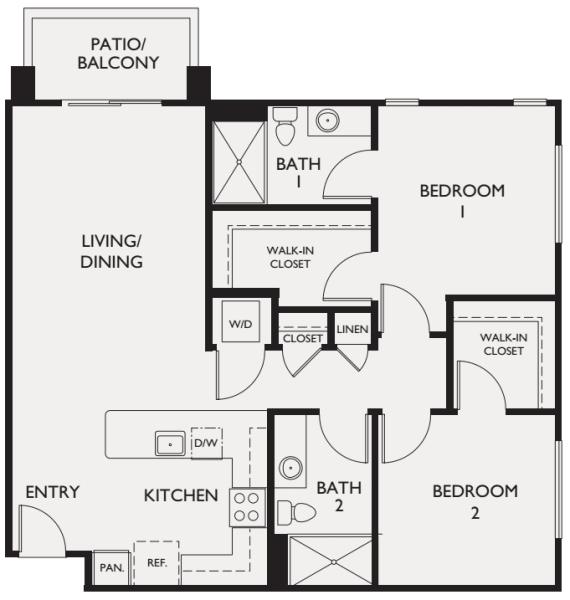 Two bedroom floor plan at McDowell Village in Scottsdale, Arizona