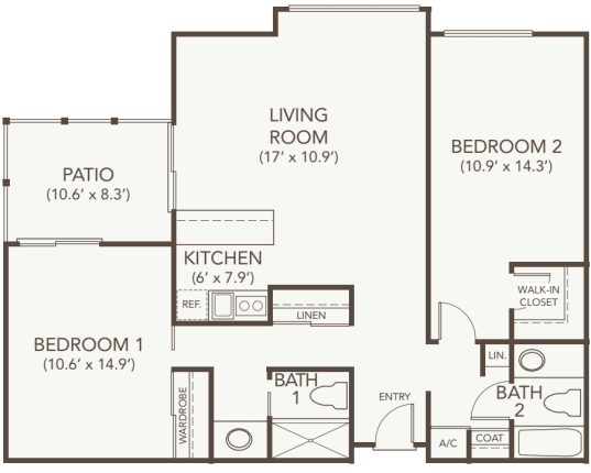Independent living two bedroom deluxe at Oakmont Gardens in Santa Rosa, California