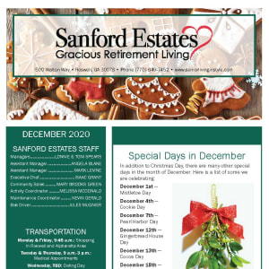 December Sanford Estates Gracious Retirement Living newsletter