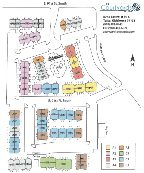 Site map for The Courtyards in Tulsa, Oklahoma
