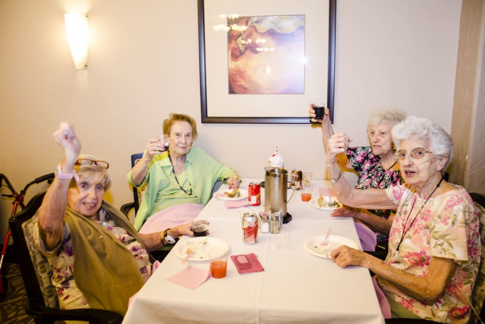 Resident friends enjoying a meal at Merrill Gardens at Green Valley Ranch in Henderson, Nevada.