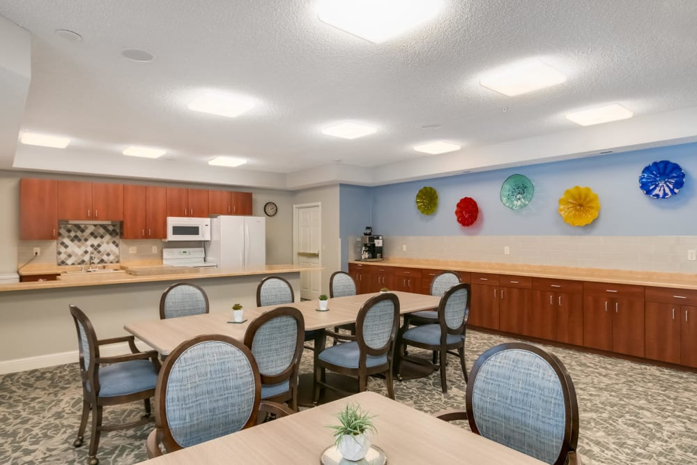 Community kitchen at Applewood Pointe of Roseville in Roseville, Minnesota.