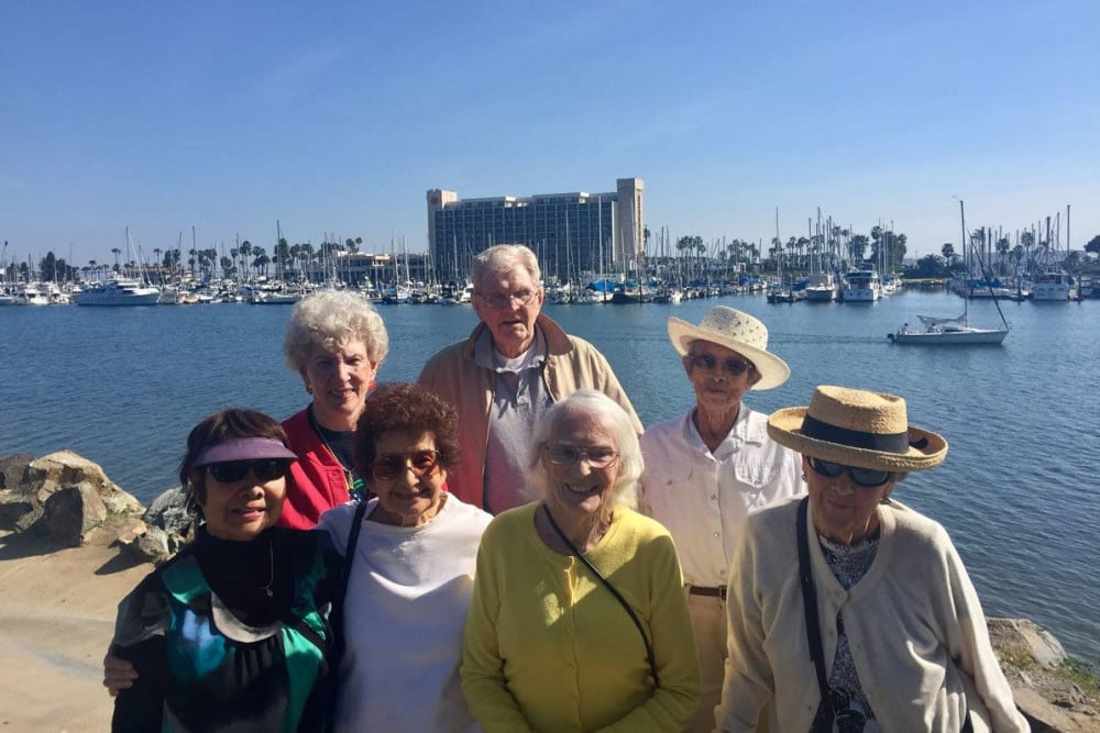 Residents on an outing near Merrill Gardens at Bankers Hill in San Diego, California.