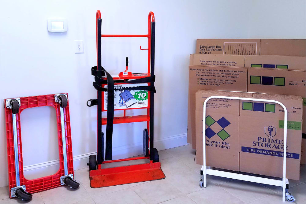 Hand trucks and dollies available at Prime Storage in Berwick, Maine