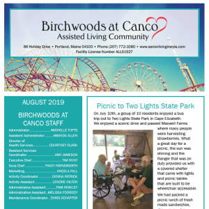 August Birchwoods at Canco Assisted Living newsletter