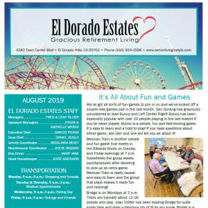 August El Dorado Estates Gracious Retirement Living newsletter