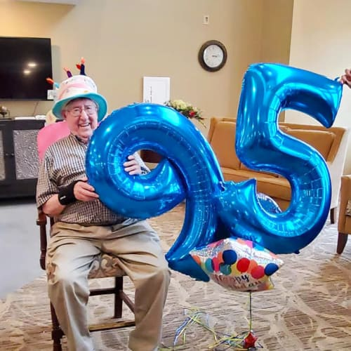 Celebrating 95 at The Oxford Grand Assisted Living & Memory Care in Kansas City, Missouri