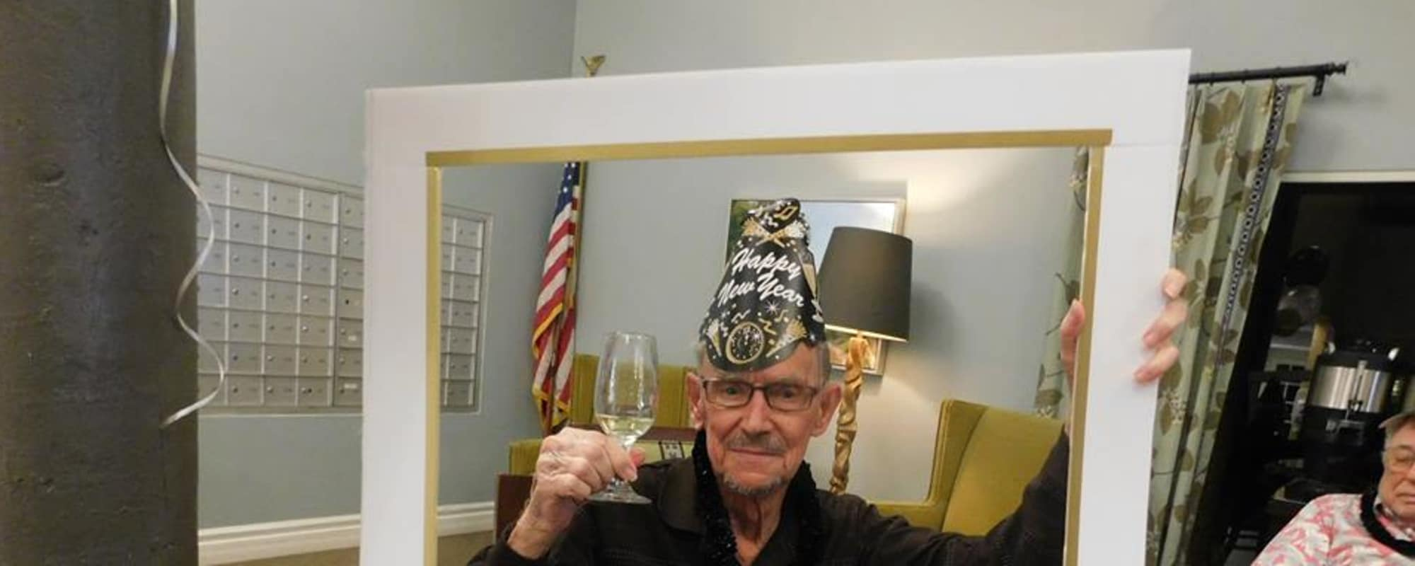 Senior celebrating New Years Eve at The Inn at Greenwood Village in Greenwood Village, Colorado