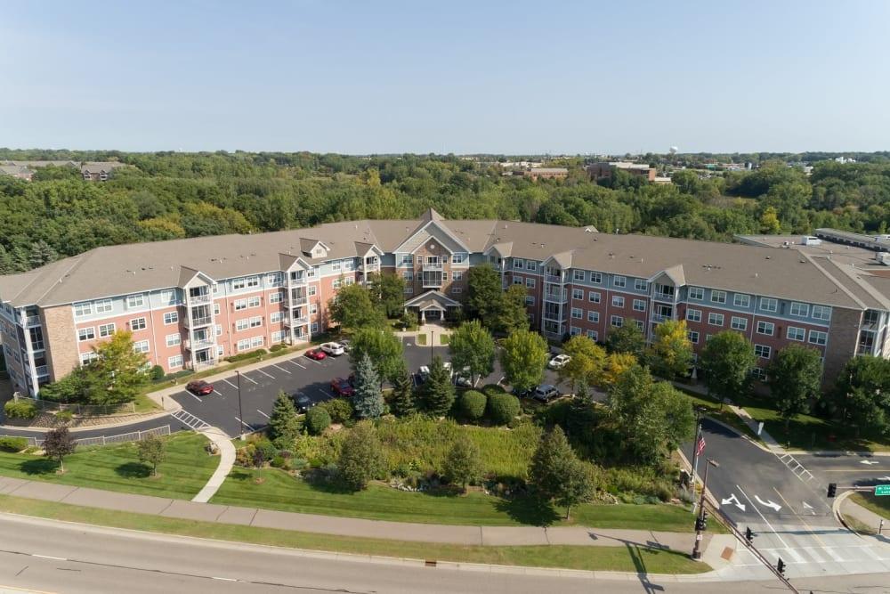 Aerial view of Applewood Pointe of Woodbury in Woodbury, Minnesota.