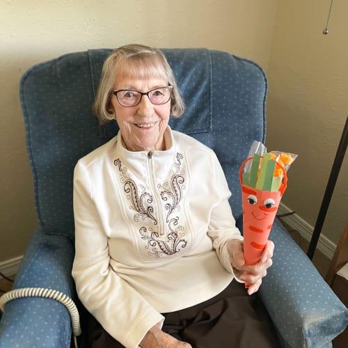 Resident holding easter gift at Madison House in Norfolk, Nebraska