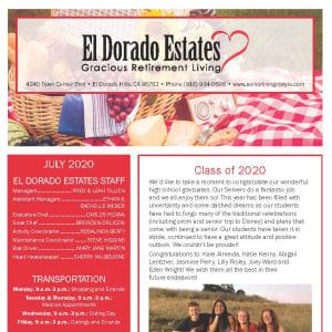 July El Dorado Estates Gracious Retirement Living Newsletter
