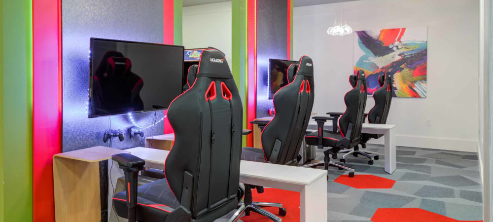 Video gaming area at Celsius in Charlotte, North Carolina